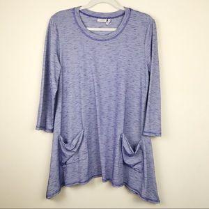 LOGO by Lori Goldstein Blue Space Dye Pocket Tunic